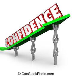parola, fiducia, squadra, credere, sollevamento, freccia, te...