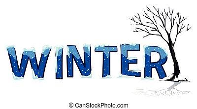 parola, font, disegno, inverno