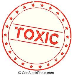 parola, francobollo, gomma, fondo, sigillo, tossico, grunge, bianco, rotondo, rosso