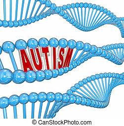 parola, geni, cervello, cultura, dna, disordine, autism, condizione, 3d