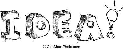 parola, idea, mano, sketchy, vettore, disegnato