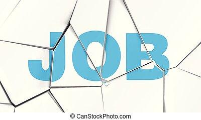 parola, illustrazione, rotto, vettore, bianco, 'job', superficie