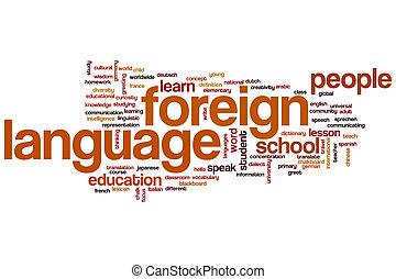 parola, lingua, nuvola, straniero
