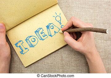 parola, luce, blocco note, idea, mano, sketchy, bulbo, disegno