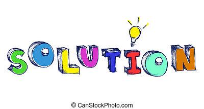 parola, luce colorita, soluzione, sketchy, bulbo