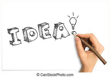 parola, luce, idea, mano, sketchy, carta, bulbo, foglio, bianco, disegno