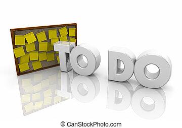 parola, note, promemoria, illustrazione, appiccicoso, asse, bollettino, 3d