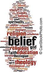 parola, nuvola, credenza