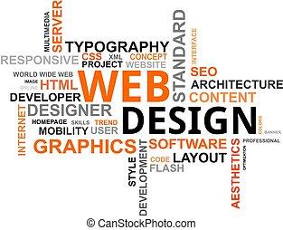 parola, nuvola, -, disegno web