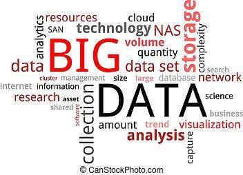 parola, nuvola, -, grande, dati