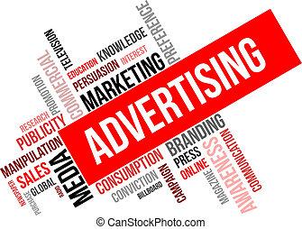 parola, nuvola, -, pubblicità
