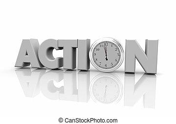 parola, orologio, tempo, illustrazione, atto, azione, ora, 3d