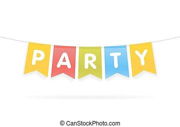 parola, pennants, illustrazione, corda, vettore, festa