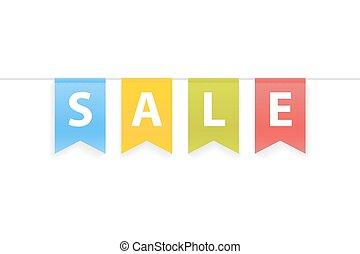 parola, pennants, vendita, illustrazione, corda, vettore