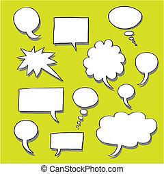 parola, pensiero, bolle, comics