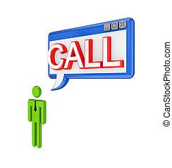 parola, persona, pc, finestra, piccolo, call., 3d