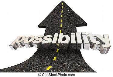 parola, positivo, su, illustrazione, potenziale, possibilità, freccia, opportunità, strada, 3d