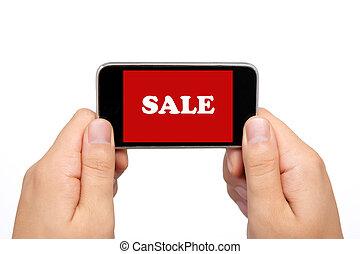 parola, presa a terra, aggeggio, vendita, telefono, computer, cuscinetto, femmina porge, schermo tocco, rosso