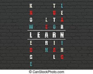 parola, puzzle, risolvere, cruciverba, imparare, educazione, concept: