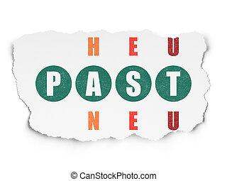 parola, puzzle, risolvere, passato, cruciverba, tempo, concept: