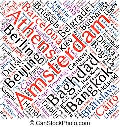 parola, relativo, fondo, mondo, città, nuvola