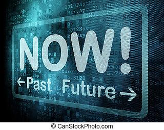 parola, render, timeline, schermo, passato, futuro, digitale, pixeled, ora, concept:, 3d