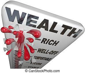 parola, ricchezza, ricco, termometro, sicurezza finanziaria