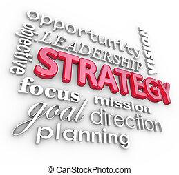 parola, scopo, collage, missione, strategia, pianificazione