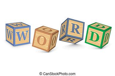 parola, scritto, blocchi