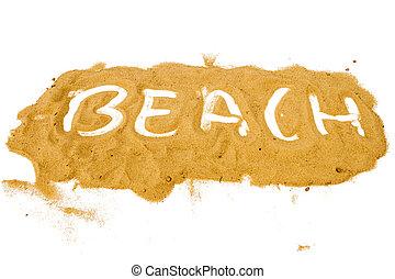 parola, scritto, giallo, sabbia, mucchio, spiaggia