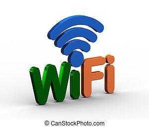 parola, simbolo, wifi, fili, 3d, icona