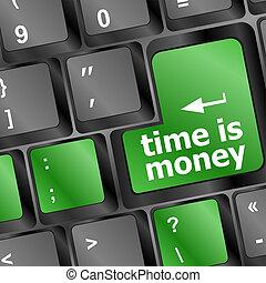 parola, soldi, tempo, tastiera computer, concept: