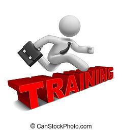 parola, sopra, saltare, uomo affari, 'training', 3d
