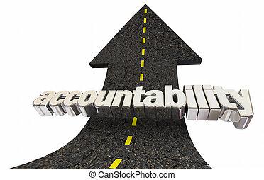 parola, su, illustrazione, accountability, responsabilità, freccia, strada, 3d