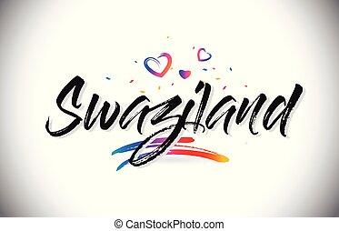 parola, swaziland, amore, testo, benvenuto, creativo, disegno, vector., cuori, font, scritto mano