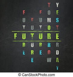 parola, timeline, puzzle, risolvere, cruciverba, futuro, concept: