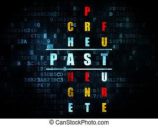 parola, timeline, puzzle, risolvere, passato, cruciverba, concept: