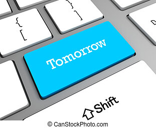 parola, timeline, tastiera computer, domani, concept: