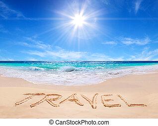 """parola, """"travel"""", su, il, spiaggia tropicale"""
