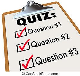 parola, tre, risposte, quiz, appunti, domande, prova, ...