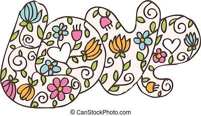 """parola, valentine, illustrazione, day., vettore, """"love"""", fiori"""