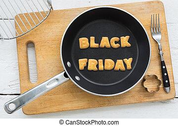 parola, venerdì, biscotto, frittura, nero, biscotti, pan