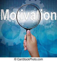 parola, vetro, fondo, ingrandendo, motivazione