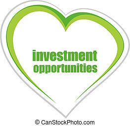 parole, affari, concept., investimento, opportunità