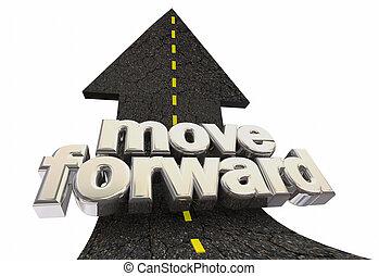 parole, avanti, muova, illustrazione, freccia, avanti, strada, 3d