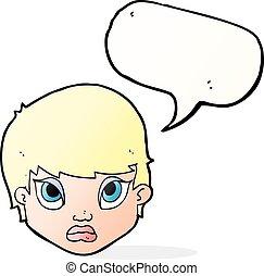 parole, bouder, femme, bulle, dessin animé