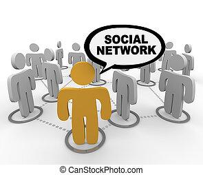 parole, -, bulle, réseau, social