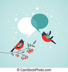 parole, bulles, arbre, oiseaux, noël