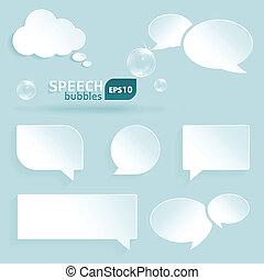 parole, bulles, papier, ensemble