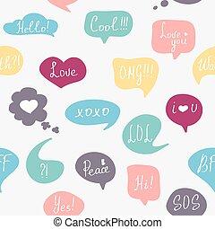 parole, bulles, pattern., coloré, questions